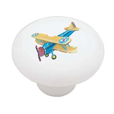Plane Knob Drawer (Blue Biplane Ceramic Drawer Knob)