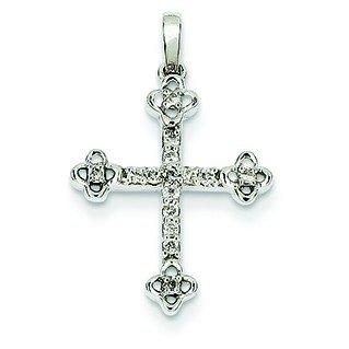 Or blanc 14 carats diamant ont bourgeonné pendentif-JewelryWeb