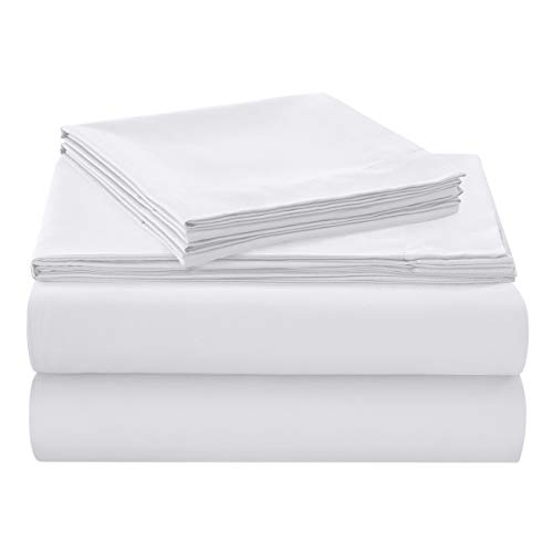 HollyHOME 1500 Soft Hypoallergenic Brushed Microfiber Bed Sheet Set, 3 Pieces Twin Size Sheets, White