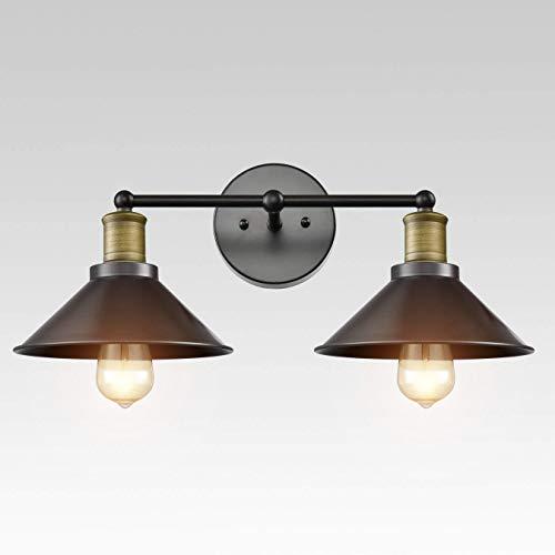 CLAXY Lighting Industrial 2-Light Vanity Light Metal Wall Sconces Bathroom Lamps