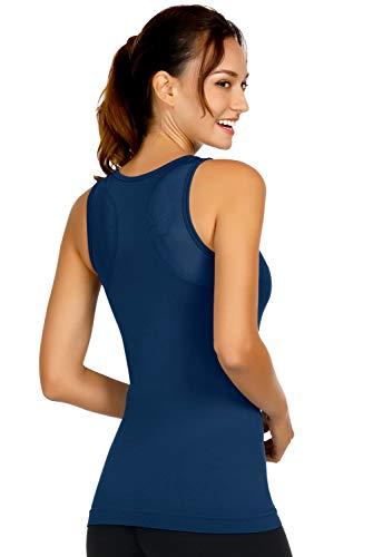DISBEST Yoga Tank Tops for Women High Performance Sport Vest Top Built in Shelf Bra Stretchy Mesh Workout Tops (Dark Blue, X-Large)