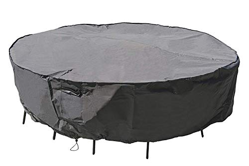 M&H Heavy Duty Waterproof Large Patio Set Cover - Outdoor Furniture Cover with Padded Handles and Durable Hem Cord - Weather Resistant, Fits Large Round Table with Chairs, 108 inch Diameter, Taupe (Table Dimensions Patio Round)