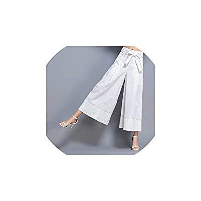 Strawberryran Pantalones cordón de Las Mujeres del Verano del Tobillo de Talle Alto Bolsillos de la Vendimia: Ropa y accesorios