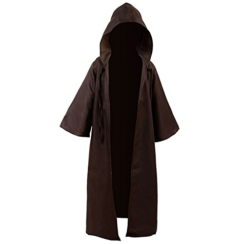 Kids Children Tunic Hooded Robe Cloak Knight Gothic Fancy Dress Halloween Masquerade Cosplay Costume Cape (M, Kids Brown)]()