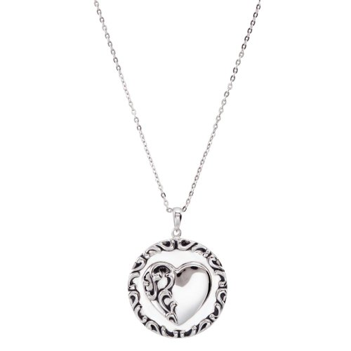 Rhodium Plate Sterling Silver Round Heart 'Mother's Prayer' Necklace, 18'' by The Men's Jewelry Store (for HER)