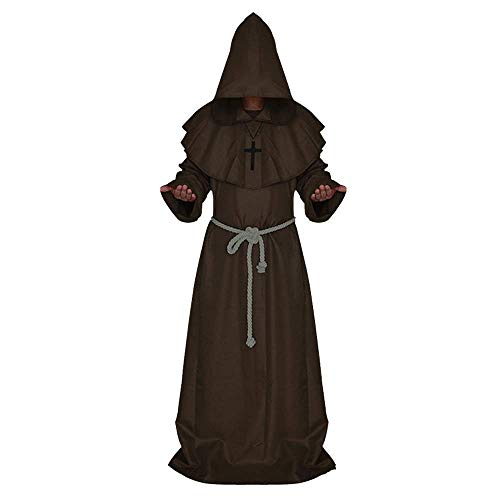 Halloween Monk Costume Adult Friar Medieval Hooded Monk Renaissance Priest Robe Cape Cloak Medieval Cowl Costume Cosplay (M,