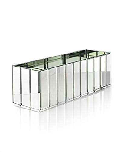Serene Spaces Living Oblong Gatsby Mirror Vase - Great Gatsby Inspired Luxe Glass Vase with Bevel Edged Mirror Strips, Use for Home Décor, Event Centerpieces and Much More, 15 3/4 L x 4 3/4 W x 4 3