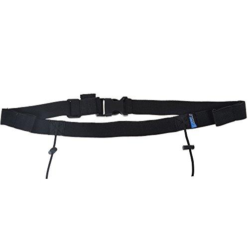 (BCP Black Color Soft Elastic Sports Triathlon Race Number Belt with Spring-Loaded Clip, 4 Gel Loops)