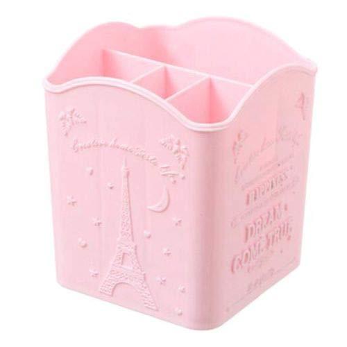 Desktop Brush Pencil Lipstick Makeup Holder Brush Cosmetic Organizer Storage Box (Color - Pink 4 Grids) -