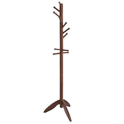 VASAGLE Coat Rack Free Standing with 11 Rounded Hooks, Wooden Hall Tree Enterway Coat Stand Coat Hanger Holder for Clothes, Hats, Purses Dark Walnut URCR02WN