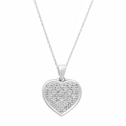 Dazzlingrock Collection 0.04 Carat (ctw) 14K Round White Diamond Ladies Heart Pendant (Silver Chain Included), White Gold