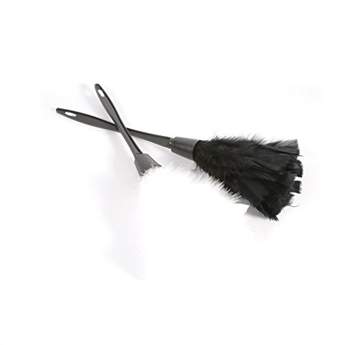 GLOGLOW Magic Anti Static Feather Duster Soft Turkey Feather Duster Brush with Black Handle Home Furniture Car Cleaning Tools(Black) by GLOGLOW (Image #5)