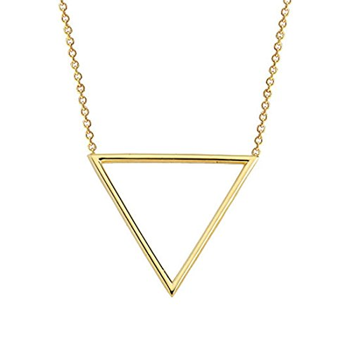 (ZUOBAO Gold Silver Tone Stainless Steel Geometric Triangle Pendant Necklace, 18