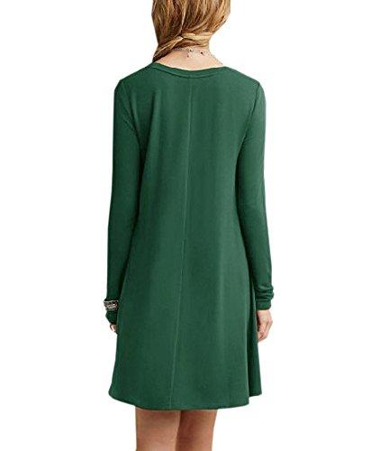 Lunga shirt Militare Girocollo Allentato Verde Delle Donne Semplice T Normale Casuale Afibi Manica Vestito wqBxS
