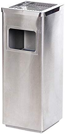 ステンレススチール屋外広場ゴミ箱ホテルエレベーターアッシュバレルリビングルーム (Color : Silver)