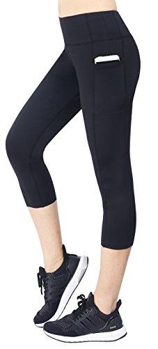Neonysweets Women's Capri Workout Leggings With Pocket Running Yoga Pants Black L