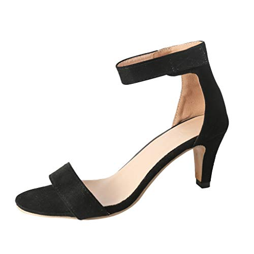 - FengGa Thin High Heels Sandals Women's Summer Ankle Strap Ladies Pumps Wedding Party Evening Roman Shoes Black