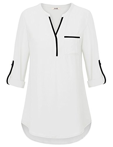 Split Neck Top - Vivilli Ladies Chiffon Tops, Womens V Neck 3/4 Cuffed Sleeve Shirts Summer Casual Loose Tunic Business Button Blouse White XX-Large