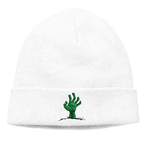 Hip-Hop Knitted Hat for Mens Womens Green Creepy Zombie-Hand Unisex Cuffed Plain Skull Knit Hat Cap Head Cap]()