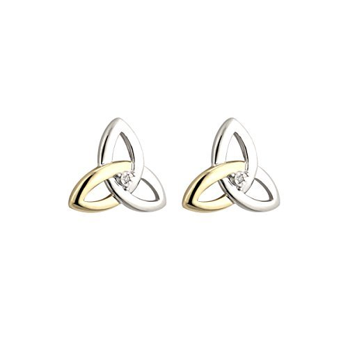 Diamond Trinity Knot Earrings Sterling Silver & 10K Gold Studs by Failte