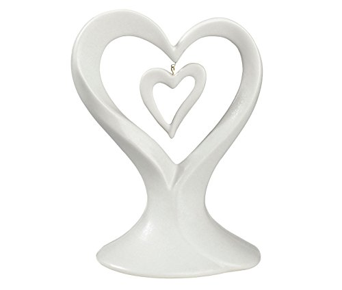Lillian Rose White Dangling Double Heart Wedding Cake - White Dangling Rose