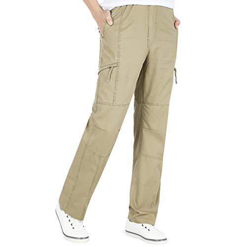 Men's Large-Size Pure-Color Overalls Outdoor Leisure Comfort Pant Khaki ()
