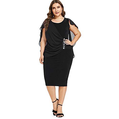 iDeesse Women's Plus Size Sleeveless Scoop Neck Rhinestone Capelet Sheath Dress (Black, 5XL)