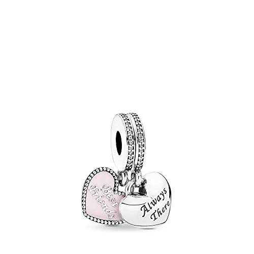PANDORA Best Friends Dangle Charm, Oxidised Sterling Silver, Soft Pink Enamel & Clear Cubic Zirconia, One Size