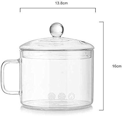 Heheng - Cuenco de cristal para microondas con tapa de cristal y ...