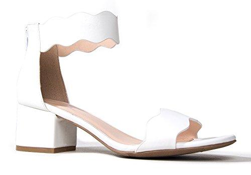 Open Toe Ankle Strap Sandal, White PU, 7.5 B(M) US ()