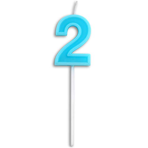 Dollet Birthday Candles Number 2 Cute Blue Happy Birthday Candle Cake Topper for Party Decoration