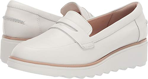 CLARKS Women's Sharon Ranch White Leather Combi 11 Wide US - Ranch 11