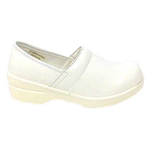 Rasolli Women's Professional Closed Back Clogs, White, Size 10.0