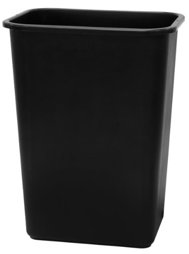 United Solutions WB0060 Black Plastic 41 Quart Office Wastebastket-10.25 Gallon Trash Can in Black
