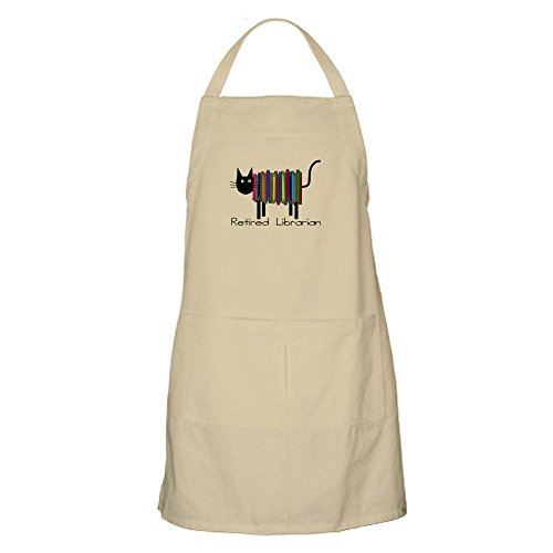 CafePress - Retired Librarian Book Cat.PNG - Kitchen Apron with Pockets, Grilling Apron, Baking Apron