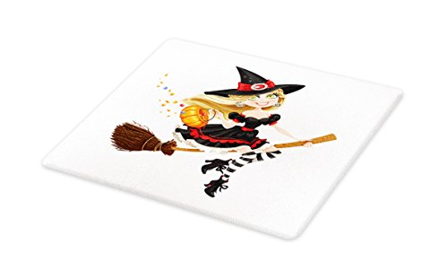 Lunarable Witch Cutting Board, Young Witch on a Broomstick F