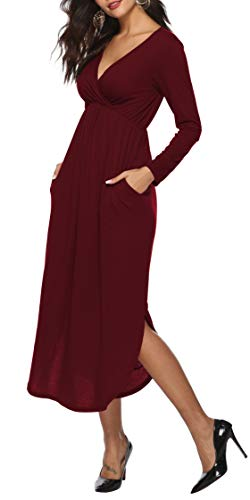 Sarin Mathews Womens Dresses V Neck Long Sleeve Side Slit Casual Party Long Maxi Dress with Pockets Burgundy L