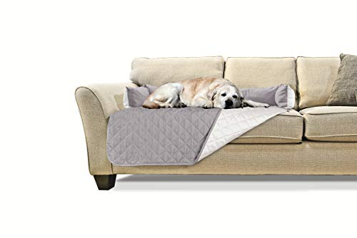 Furhaven Pet Furniture Cover | Sofa Buddy Two-Tone Reversible Water-Resistant Living Room Furniture Cover Protector Pet Bed for Dogs & Cats, Gray/Mist, Large