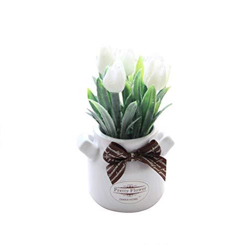 (Braceus 1Pc Potted Artificial Flower Tulip Bowtie Bonsai Garden Wedding Home Party Decor Beautiful Realistic Plants Greenery Restaurant Hotel Desk Decoration White)