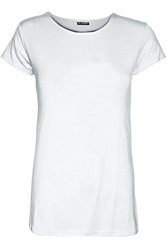 Be Jealous Women Ladies Cap Sleeve Plain Round Neck T-Shirt Casual Tunic Tee Top Sizes (Cap Sleeve Plus Size Cap)