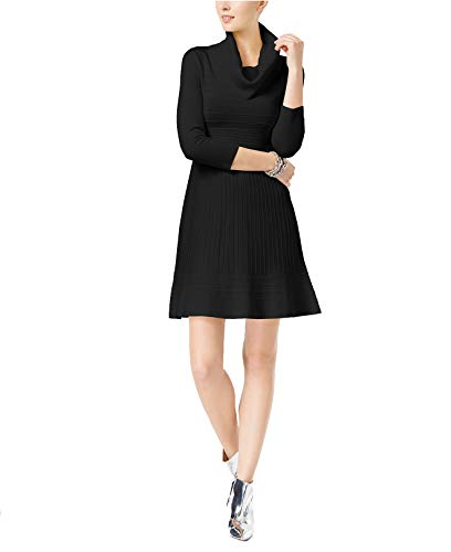INC International Concepts Women's Cowl-Neck Fit & Flare Sweater Dress (Deep Black, XX-Large)