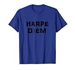 """Seize the day! Have you done your daily harmonica practice? The HarpNinja.com Harpe Diem harmonica shirt is your reminder to """"get it done"""". You only get better by playing!"""