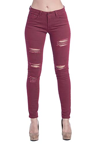 ICONICC Women's Butt Lifting Skinny Jeans Ripped Denim (JP0060T_Wine_11) ()