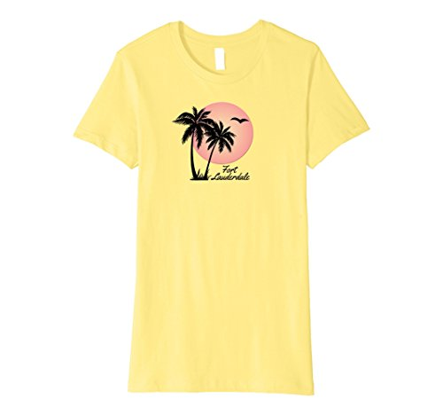 Womens Fort Lauderdale Souvenir TShirt Gift Palm Tree Sun Beach Medium - Women Lauderdale Fort