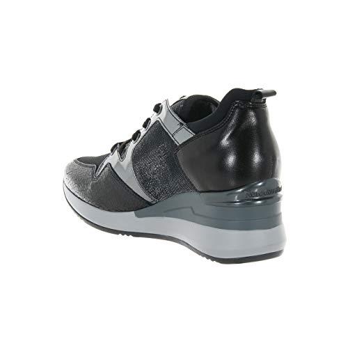 Tela Glitter Giardini Sneaker E A806610d100 Pelle Scarpe Donna Laminata Nero n6afq04w0