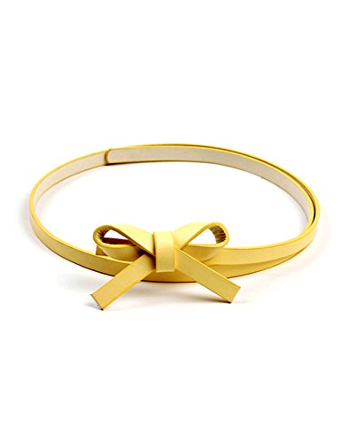 Tie Legou Bow With Yellow PU Women Fashion Candy Color Leather Belt 4Ozq4xU