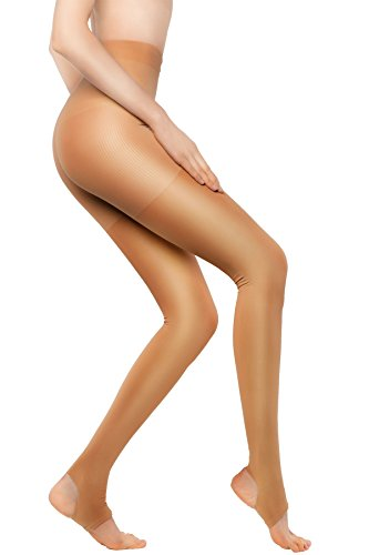 +MD 15-21mmHg Women's Open Toe Compression Pantyhose for Winter Medical Quality Stocking NudeM/L