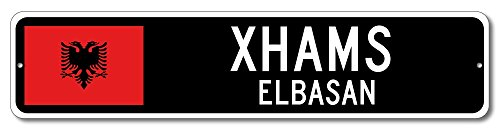 Albania Flag Sign   Xhams  Elbasan   Albanian Custom Flag Sign   4 X18  Inches