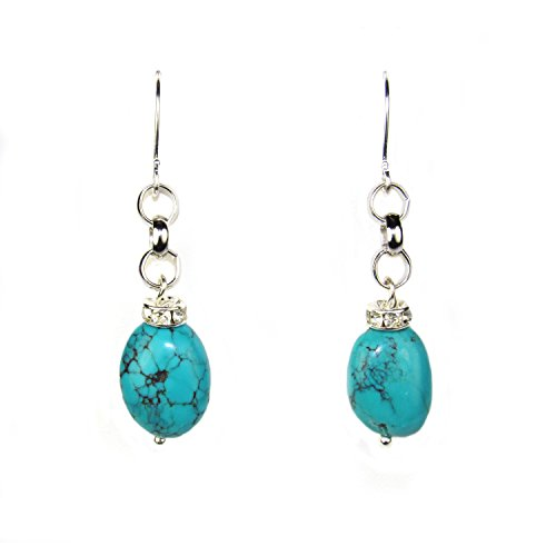 Composed Turquoise and Crystal Rondell Dangle Earrings. Assembled in the U.S.A.