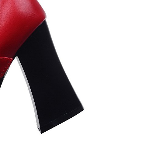 VogueZone009 Women's Buckle Round Closed Toe High Heels Pu Solid Pumps-Shoes Red FqyoUxaM